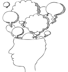 Head profile with balloons vector image vector image