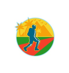 Hiker hiking road mountain retro vector