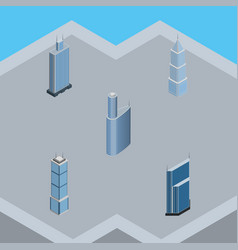 Isometric skyscraper set of building business vector