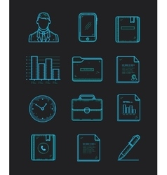 modern office and business icons set on the dark vector image