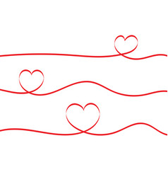 red ribbons heart isolated on white background vector image