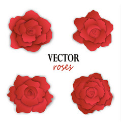Set of four paper red roses vector
