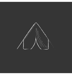 Tent drawn in chalk icon vector