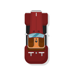 Top view luxury hot rod car isolated icon vector