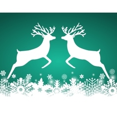 Two reindeer jump to each other vector