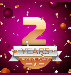 Two years anniversary celebration design vector