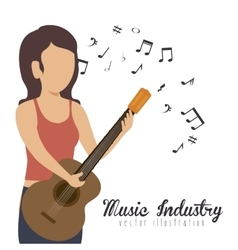 woman playing guitar isolated icon design vector image