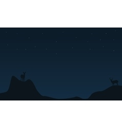 Deer on the cliff christmas landscape vector