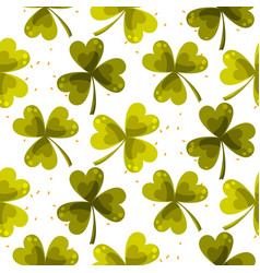 Clover trefoil leaf seamless pattern vector