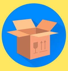 Cardboard box fragile this side up isolated flat vector