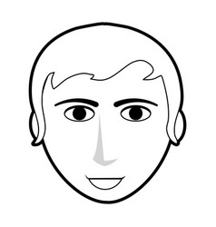 Black silhouette cartoon front face guy with vector