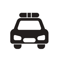 Black icon on white background police car vector