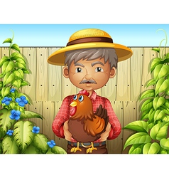 An old man holding a rooster near the wooden fence vector