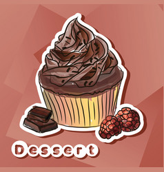 sticker with chocolat cake vector image