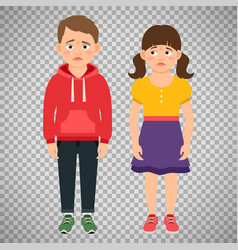 crying kids characters on transparent background vector image