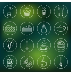 Tea icons set outline vector