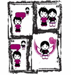 Emo love comics vector