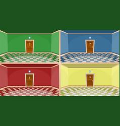 4 colors cartoon secret door concept empty rooms vector