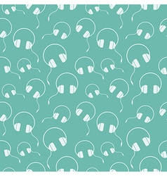 Seamless music pattern with headphones vector