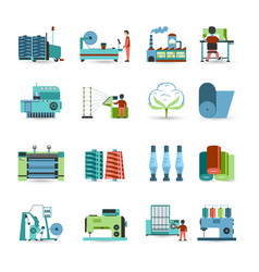 Textile mill flat icons set vector