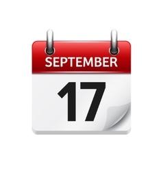 September 17 flat daily calendar icon vector