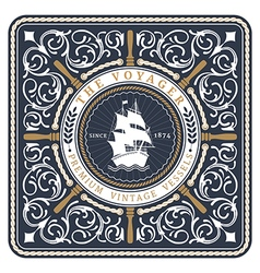 Nautical the voyager retro card vector