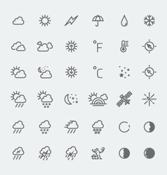 Weather icons set black and white vector