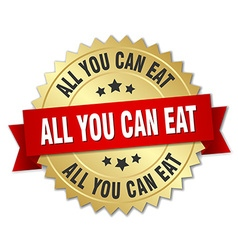 All you can eat 3d gold badge with red ribbon vector