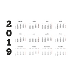 Simple calendar on 2019 year in french language vector