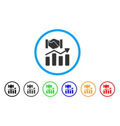 Acquisition hands graph trend rounded icon vector