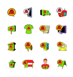 Advertisement set icons set cartoon vector