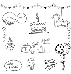 Birthday set doodle on white vector