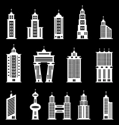 Building set 2 - White vector image vector image