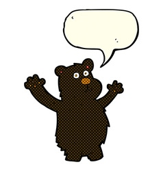 Cartoon funny black bear with speech bubble vector