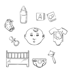 Child toys and objects in sketch style vector