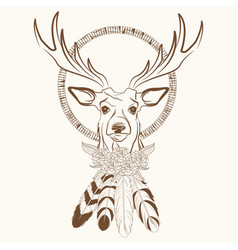 Deer with dream catcher with feathers vector