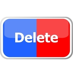 delete word on web button icon isolated on vector image vector image
