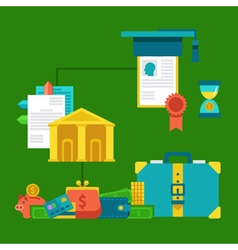 Flat concepts for investing in education concept vector image