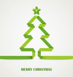 Folded paper christmas green tree card vector