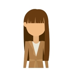 Half body woman in dress and long brunette hair vector