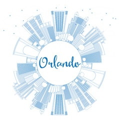 Outline Orlando Skyline with Blue Buildings vector image vector image