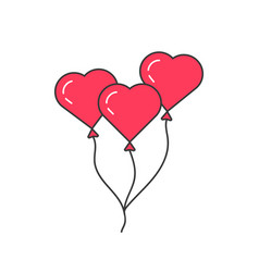 pink outline balloon like heart vector image vector image