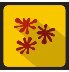 Red paint splashes icon flat style vector