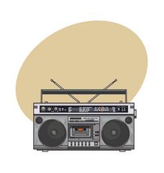 Retro style audio tape recorder ghetto boom box vector