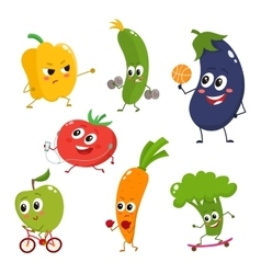 Set of funny cartoon vegetables doing sport vector image