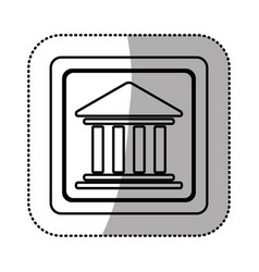 Silhouette emblem shape bank icon vector