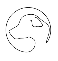 Silhouette face dog icon design vector