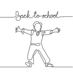 Standing school boy happy with back to school vector