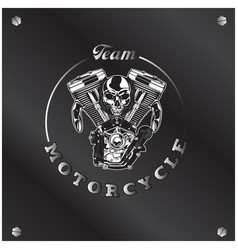 Team motorcycle skull circle frame background vect vector