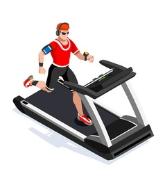 Treadmill gym class working out isometric image vector